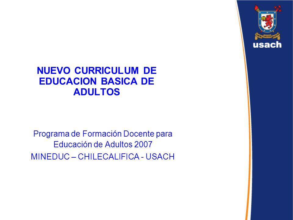NUEVO CURRICULUM DE EDUCACION BASICA DE ADULTOS Programa de Formación Docente para Educación de Adultos 2007 MINEDUC – CHILECALIFICA - USACH