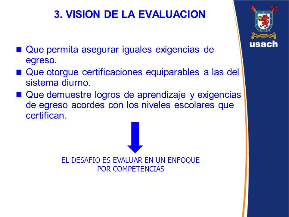 3. VISION DE LA EVALUACION Que permita asegurar iguales exigencias de egreso. Que otorgue certificaciones equiparables a las del sistema diurno. Que d