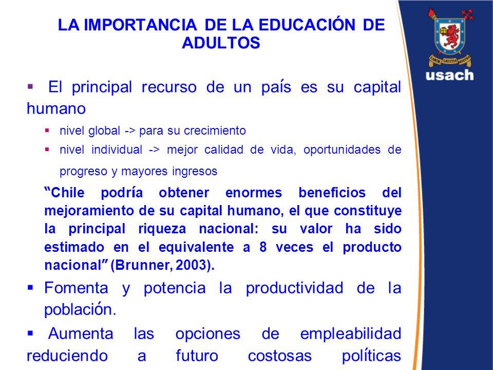 LA IMPORTANCIA DE LA EDUCACIÓN DE ADULTOS El principal recurso de un pa í s es su capital humano nivel global -> para su crecimiento nivel individual