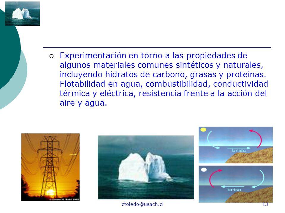 ctoledo@usach.cl13 Experimentación en torno a las propiedades de algunos materiales comunes sintéticos y naturales, incluyendo hidratos de carbono, gr
