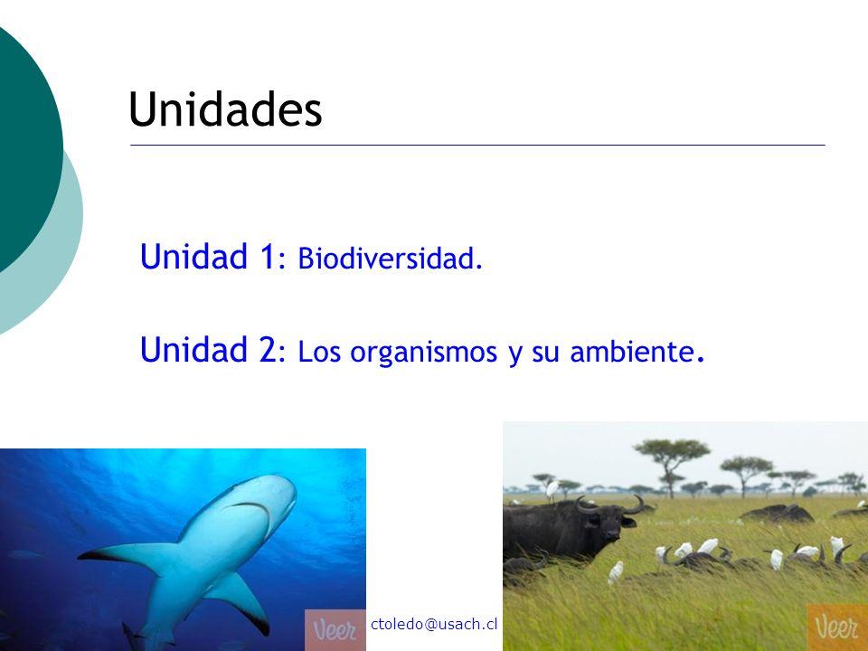 ctoledo@usach.cl25 Unidades Unidad 1 : Biodiversidad. Unidad 2 : Los organismos y su ambiente.