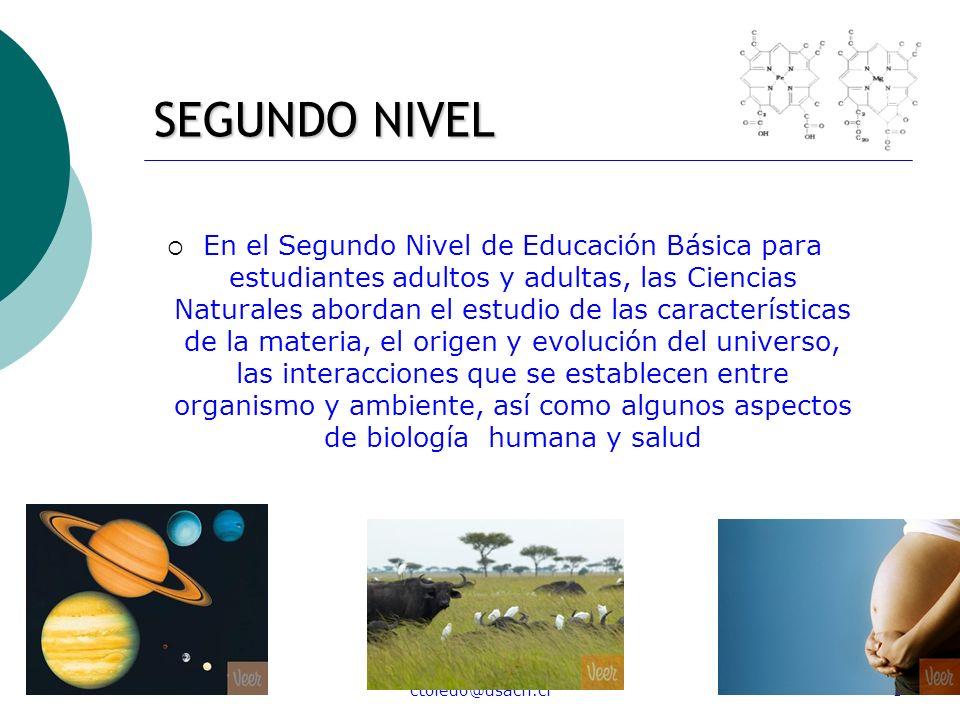 ctoledo@usach.cl3 SEGUNDO NIVEL En el Segundo Nivel de Educación Básica para estudiantes adultos y adultas, las Ciencias Naturales abordan el estudio