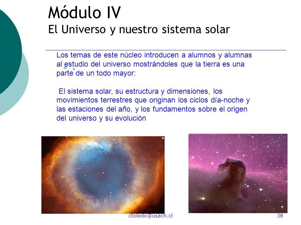 ctoledo@usach.cl38 Módulo IV El Universo y nuestro sistema solar. Los temas de este núcleo introducen a alumnos y alumnas al estudio del universo most