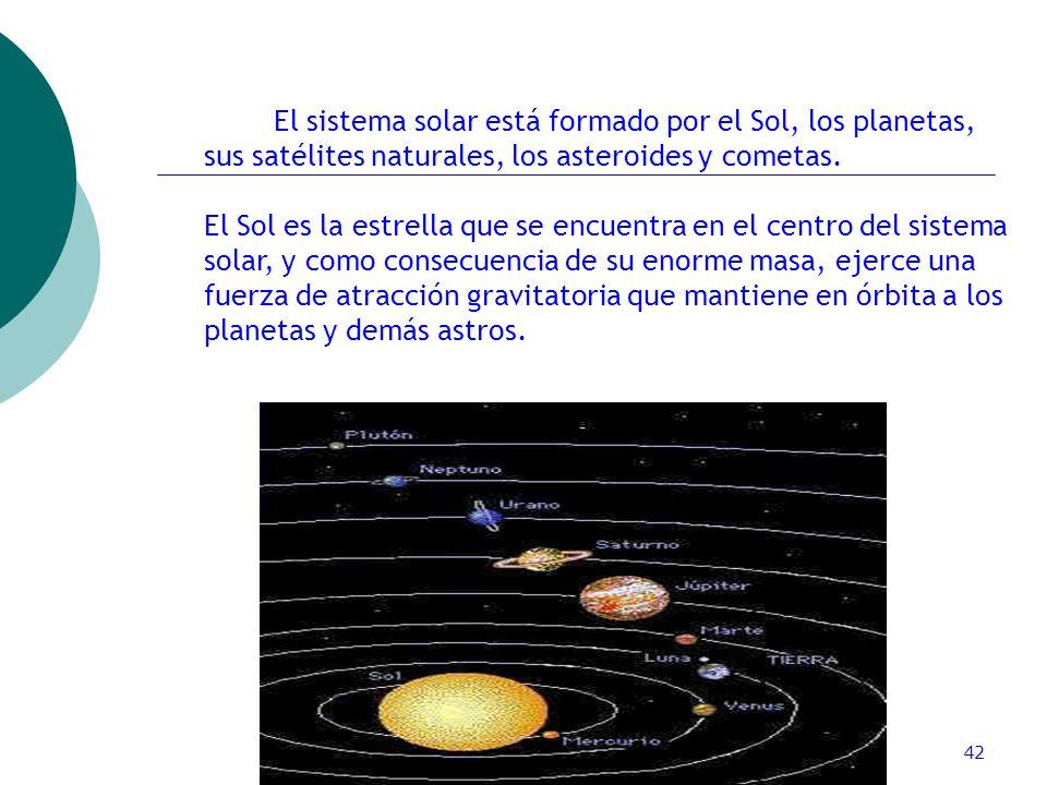 ctoledo@usach.cl42 El sistema solar está formado por el Sol, los planetas, sus satélites naturales, los asteroides y cometas. El Sol es la estrella qu