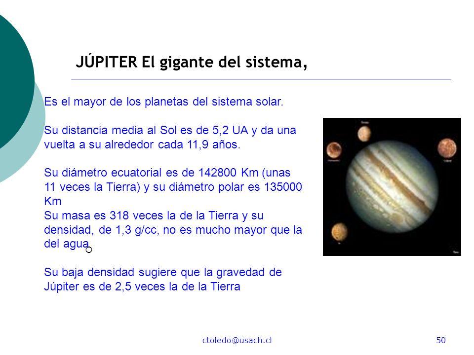 ctoledo@usach.cl50 JÚPITER El gigante del sistema, Es el mayor de los planetas del sistema solar. Su distancia media al Sol es de 5,2 UA y da una vuel