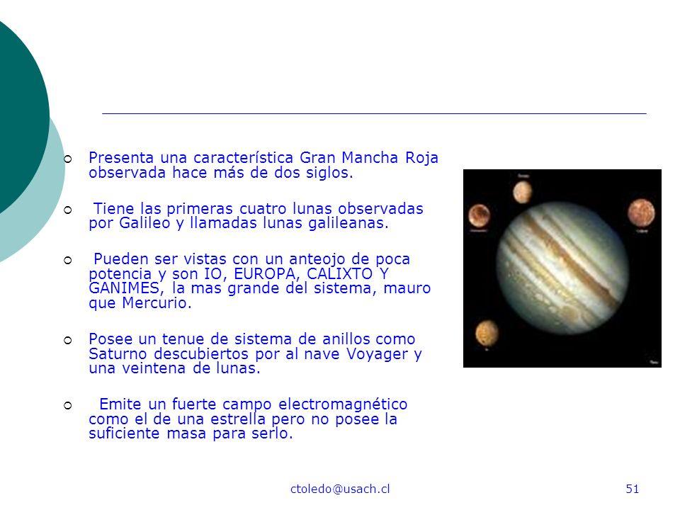 ctoledo@usach.cl51 Presenta una característica Gran Mancha Roja observada hace más de dos siglos. Tiene las primeras cuatro lunas observadas por Galil