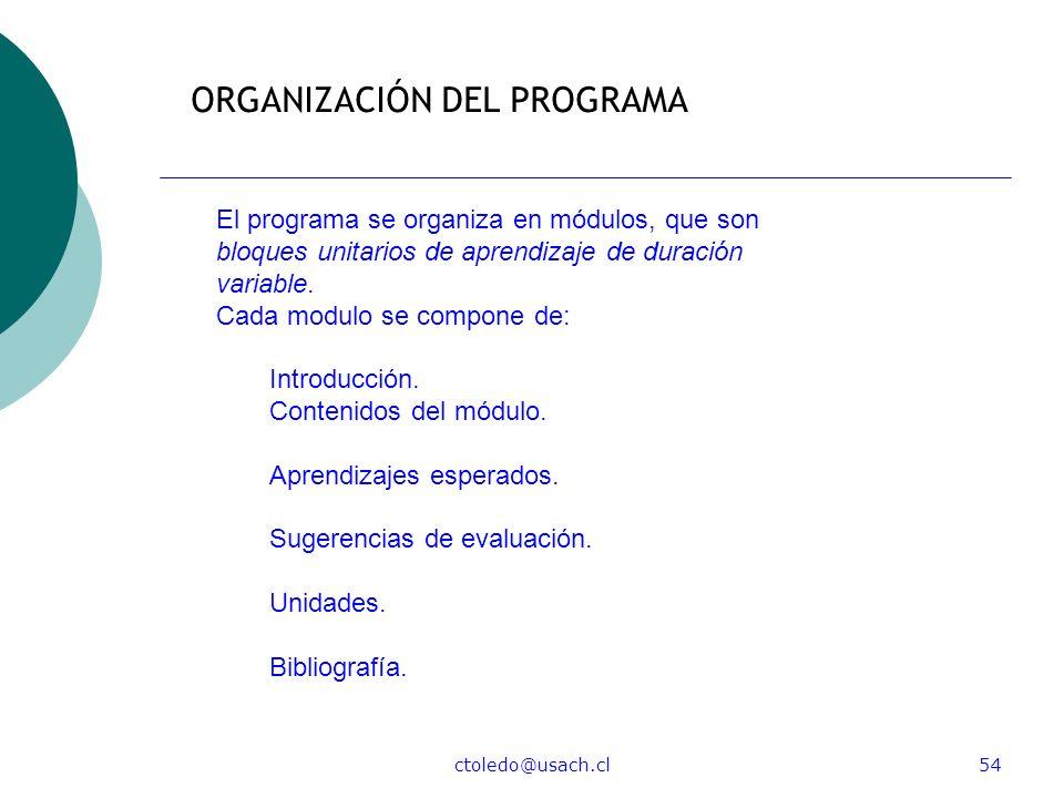 ctoledo@usach.cl54 ORGANIZACIÓN DEL PROGRAMA El programa se organiza en módulos, que son bloques unitarios de aprendizaje de duración variable. Cada m