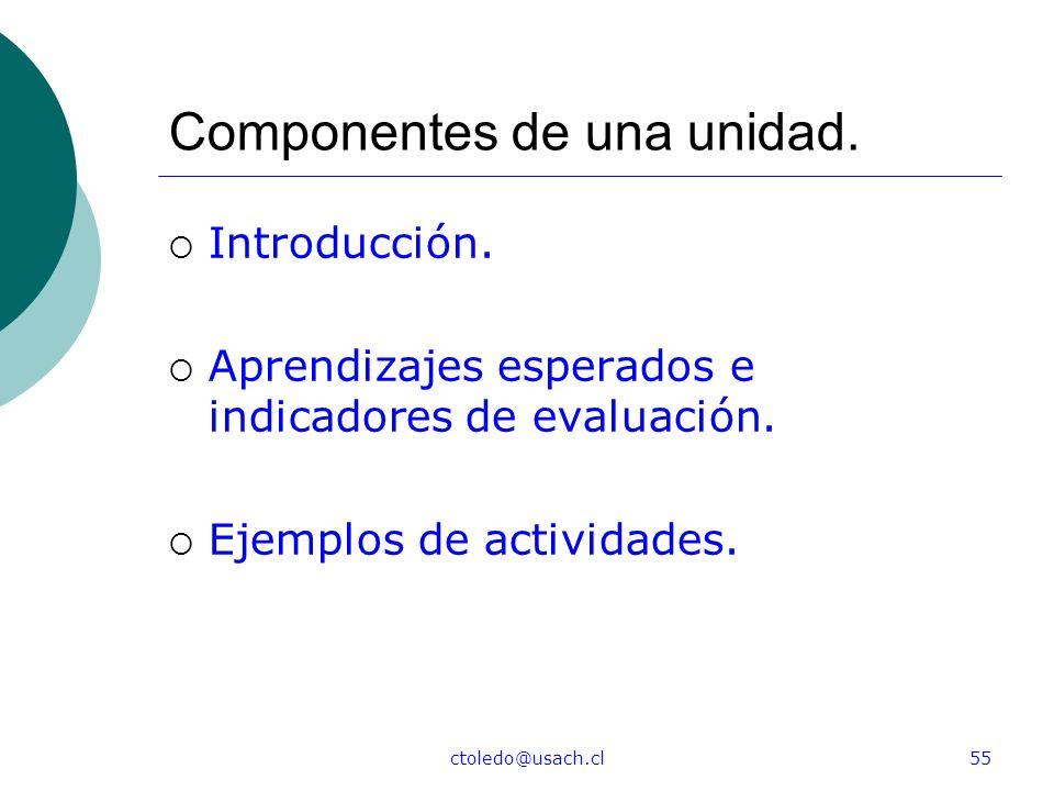 ctoledo@usach.cl55 Componentes de una unidad. Introducción. Aprendizajes esperados e indicadores de evaluación. Ejemplos de actividades.