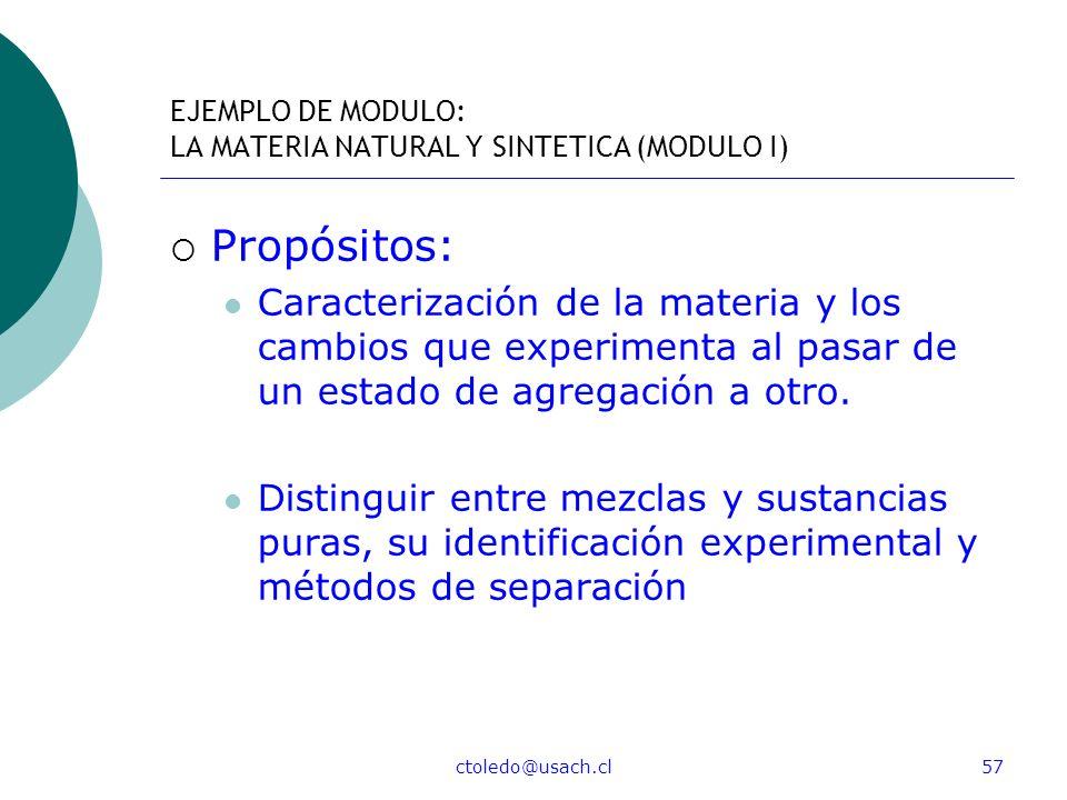 ctoledo@usach.cl57 EJEMPLO DE MODULO: LA MATERIA NATURAL Y SINTETICA (MODULO I) Propósitos: Caracterización de la materia y los cambios que experiment