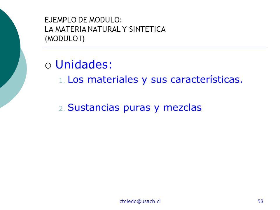 ctoledo@usach.cl58 EJEMPLO DE MODULO: LA MATERIA NATURAL Y SINTETICA (MODULO I) Unidades: 1. Los materiales y sus características. 2. Sustancias puras