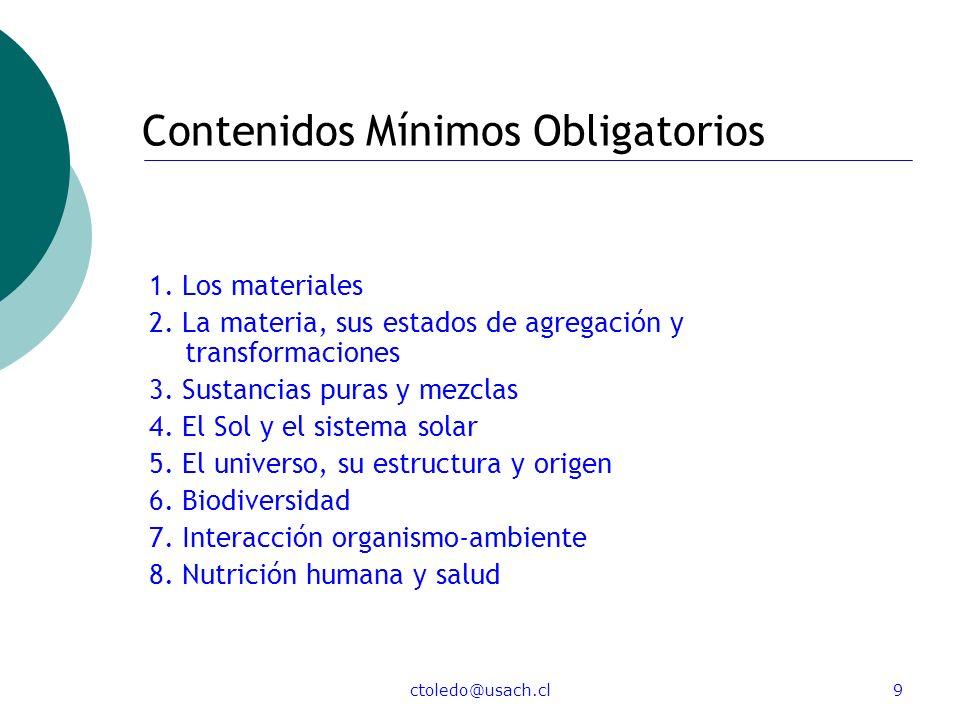 ctoledo@usach.cl9 Contenidos Mínimos Obligatorios 1. Los materiales 2. La materia, sus estados de agregación y transformaciones 3. Sustancias puras y