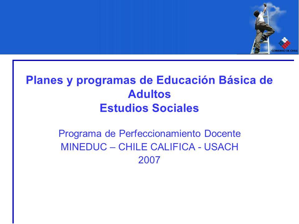Planes y programas de Educación Básica de Adultos Estudios Sociales Programa de Perfeccionamiento Docente MINEDUC – CHILE CALIFICA - USACH 2007