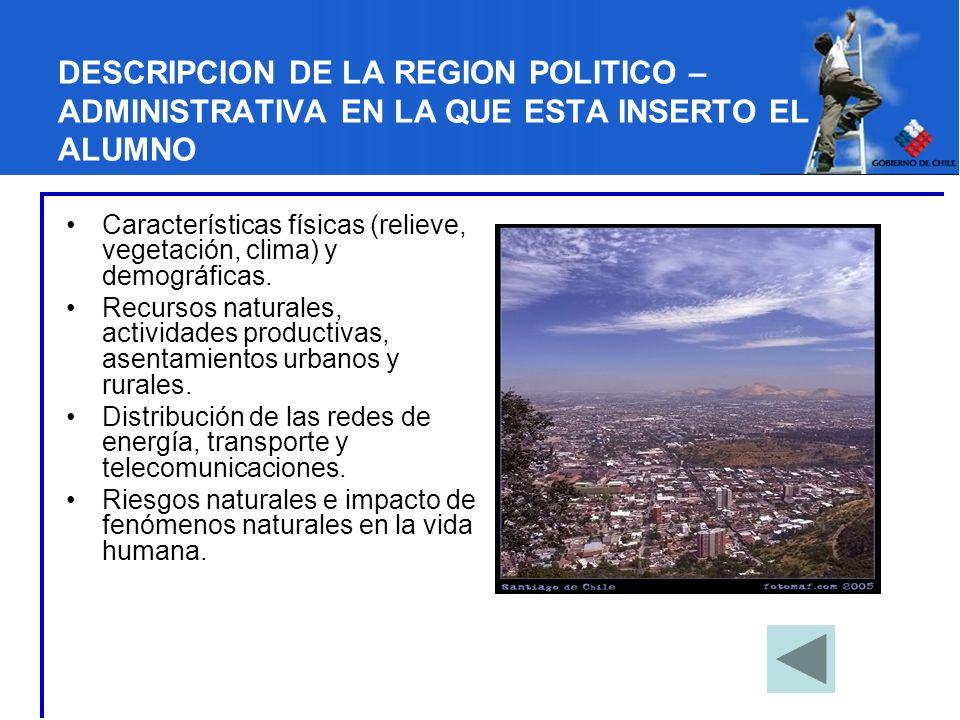 DESCRIPCION DE LA REGION POLITICO – ADMINISTRATIVA EN LA QUE ESTA INSERTO EL ALUMNO Características físicas (relieve, vegetación, clima) y demográfica