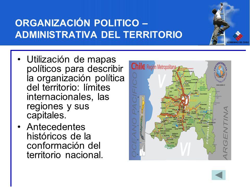 ORGANIZACIÓN POLITICO – ADMINISTRATIVA DEL TERRITORIO Utilización de mapas políticos para describir la organización política del territorio: límites i