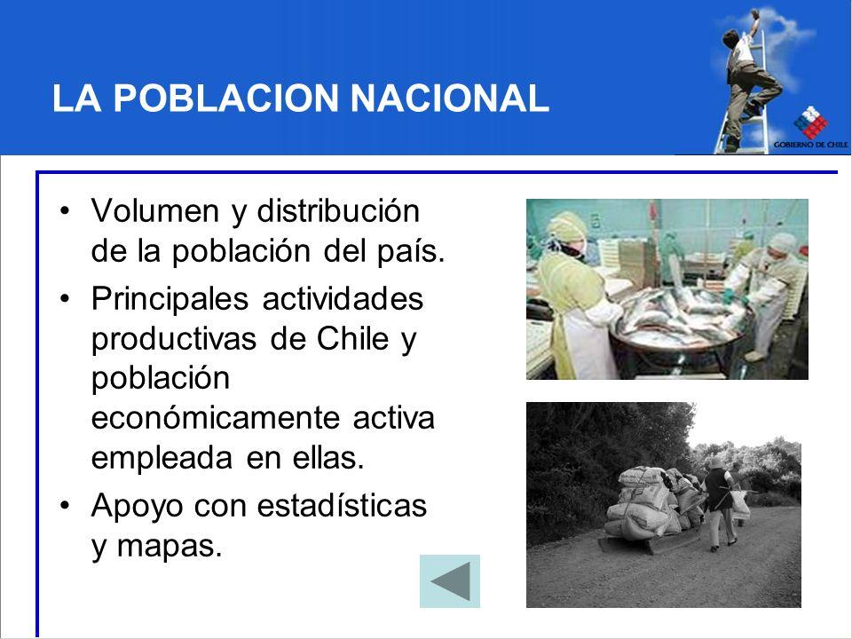 LA POBLACION NACIONAL Volumen y distribución de la población del país. Principales actividades productivas de Chile y población económicamente activa
