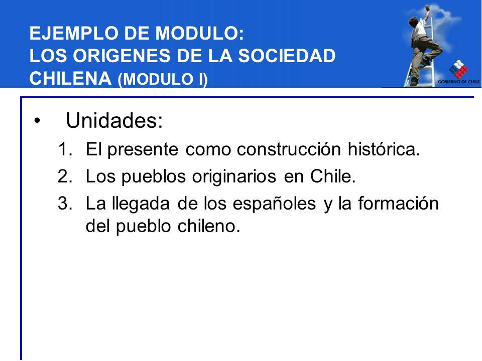 EJEMPLO DE MODULO: LOS ORIGENES DE LA SOCIEDAD CHILENA (MODULO I) Unidades: 1.El presente como construcción histórica. 2.Los pueblos originarios en Ch
