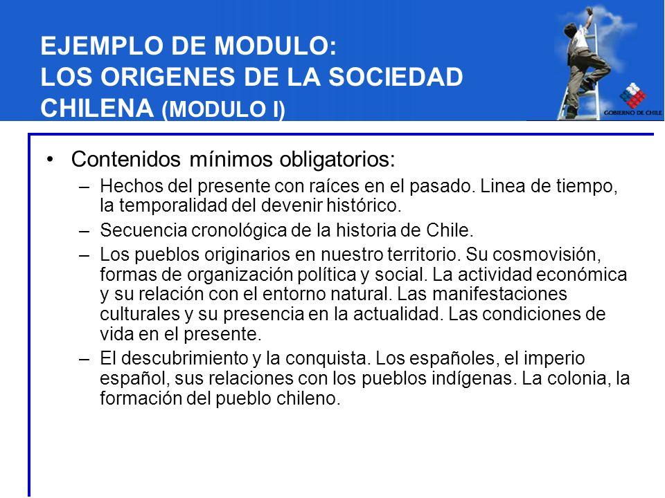 EJEMPLO DE MODULO: LOS ORIGENES DE LA SOCIEDAD CHILENA (MODULO I) Contenidos mínimos obligatorios: –Hechos del presente con raíces en el pasado. Linea