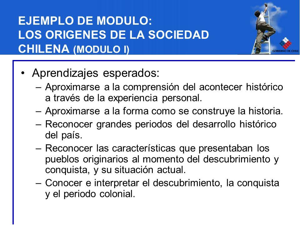 EJEMPLO DE MODULO: LOS ORIGENES DE LA SOCIEDAD CHILENA (MODULO I) Aprendizajes esperados: –Aproximarse a la comprensión del acontecer histórico a trav