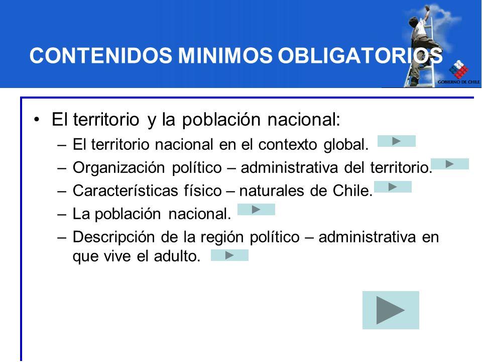 CONTENIDOS MINIMOS OBLIGATORIOS El territorio y la población nacional: –El territorio nacional en el contexto global. –Organización político – adminis