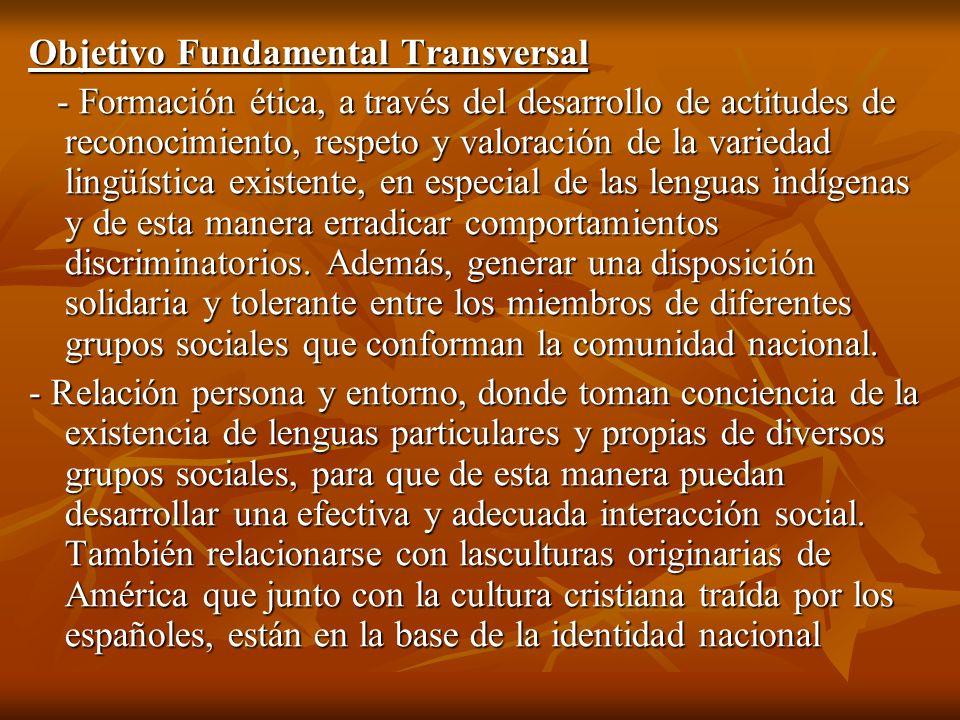 Objetivo Fundamental Transversal - Formación ética, a través del desarrollo de actitudes de reconocimiento, respeto y valoración de la variedad lingüí
