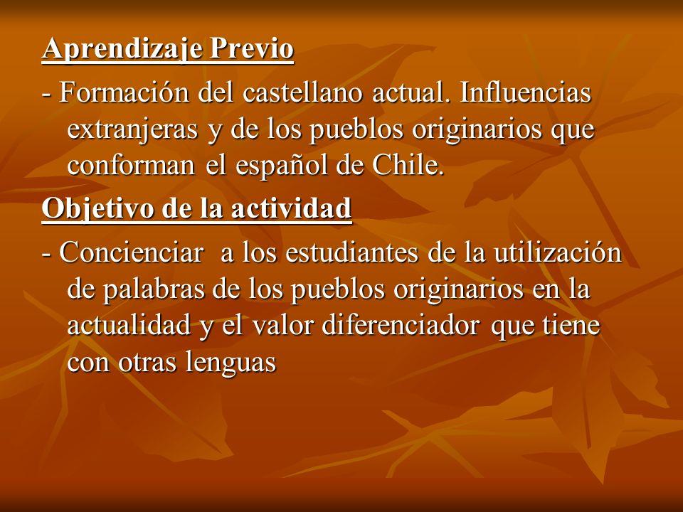 Aprendizaje Previo - Formación del castellano actual. Influencias extranjeras y de los pueblos originarios que conforman el español de Chile. Objetivo