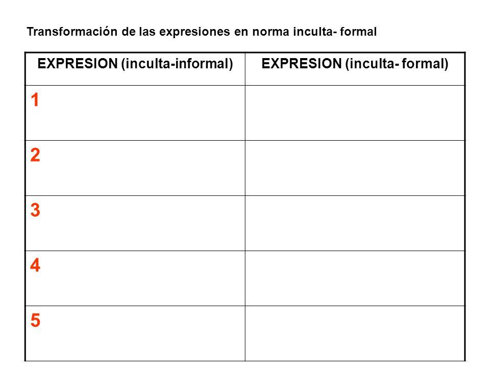 Transformación de las expresiones en norma inculta- formal EXPRESION (inculta-informal)EXPRESION (inculta- formal) 1 2 3 4 5