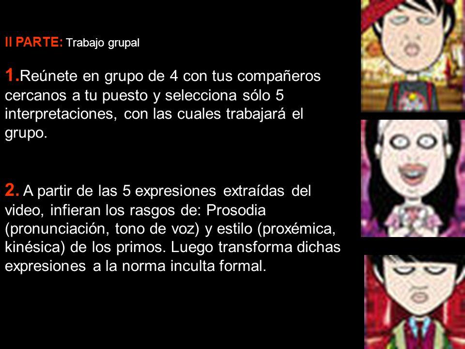 II PARTE: Trabajo grupal 1. Reúnete en grupo de 4 con tus compañeros cercanos a tu puesto y selecciona sólo 5 interpretaciones, con las cuales trabaja