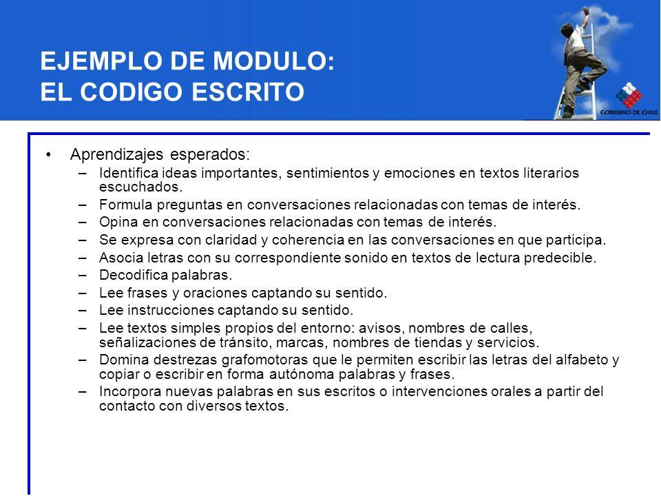 EJEMPLO DE MODULO: EL CODIGO ESCRITO Aprendizajes esperados: –Identifica ideas importantes, sentimientos y emociones en textos literarios escuchados.