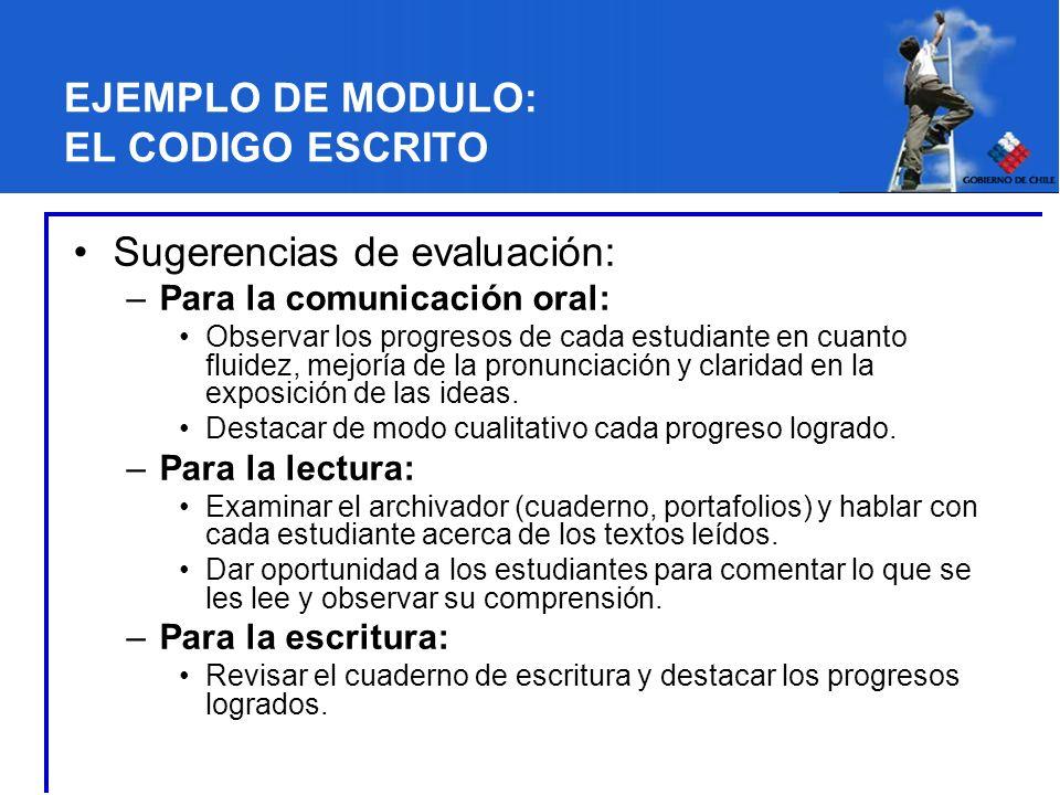 EJEMPLO DE MODULO: EL CODIGO ESCRITO Sugerencias de evaluación: –Para la comunicación oral: Observar los progresos de cada estudiante en cuanto fluidez, mejoría de la pronunciación y claridad en la exposición de las ideas.