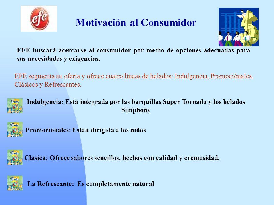 Motivación al Consumidor EFE buscará acercarse al consumidor por medio de opciones adecuadas para sus necesidades y exigencias. EFE segmenta su oferta