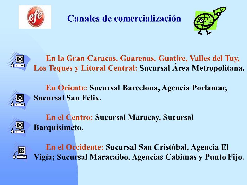 Canales de comercialización En la Gran Caracas, Guarenas, Guatire, Valles del Tuy, Los Teques y Litoral Central: Sucursal Área Metropolitana. En Orien