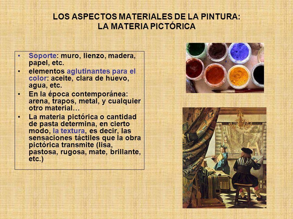 LA TÉCNICA PICTÓRICA MATERIALESTÉCNICASSOPORTES DETERMINAN EXIGEN COLORES (pigmentos) AGLUTINANTES (adherentes y protectores de los colores) FRESCO ACUARELA TÉMPERA AGUADA (GUACHE) TEMPLE ÓLEO ENCÁUSTICA (en caliente) ceras, lápices de colores PASTEL ACRÍLICO MOSAICO VIDRIERA GRABADO MURO PAPEL ESTUCO TABLA TELA METAL MADERA CARTÓN SUELO VANOS