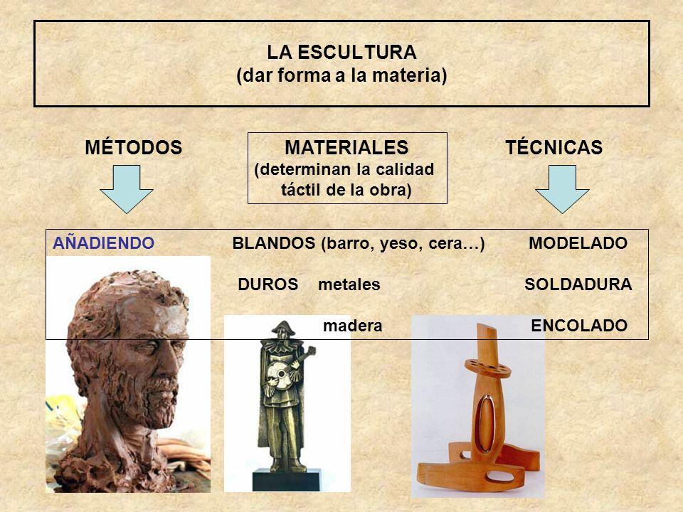 LA ESCULTURA (dar forma a la materia) MÉTODOS AÑADIENDO BLANDOS (barro, yeso, cera…) MODELADO DUROS metales SOLDADURA madera ENCOLADO TÉCNICAS MATERIA