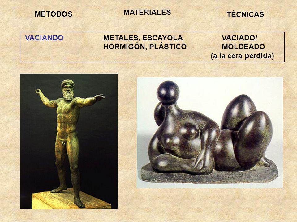 VACIANDO METALES, ESCAYOLA VACIADO/ HORMIGÓN, PLÁSTICO MOLDEADO (a la cera perdida) MÉTODOS TÉCNICAS MATERIALES