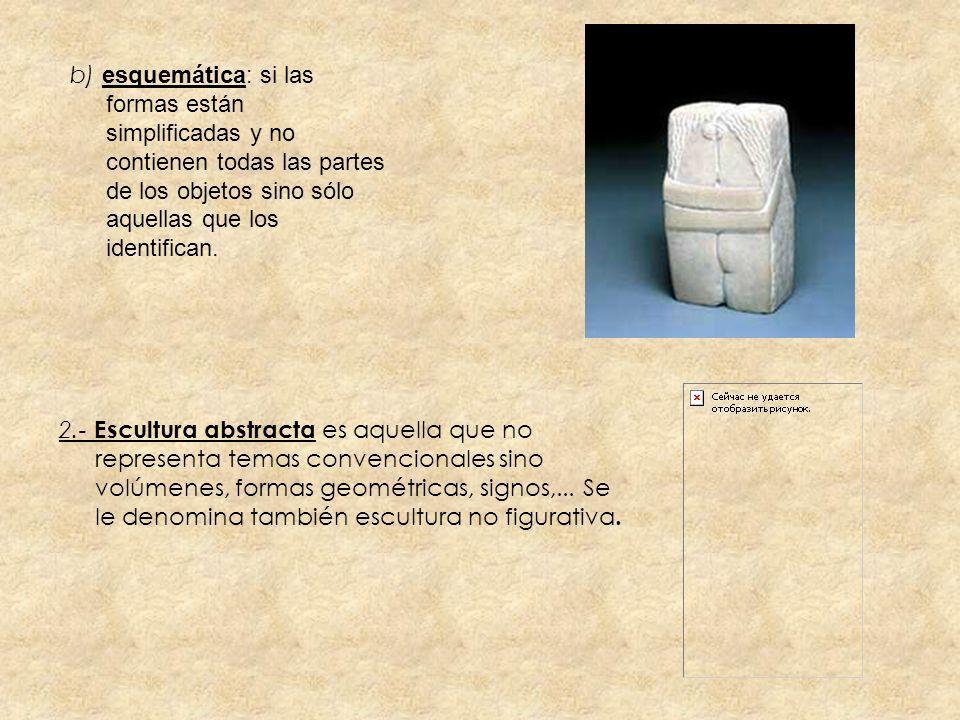 b) esquemática: si las formas están simplificadas y no contienen todas las partes de los objetos sino sólo aquellas que los identifican. 2.- Escultura