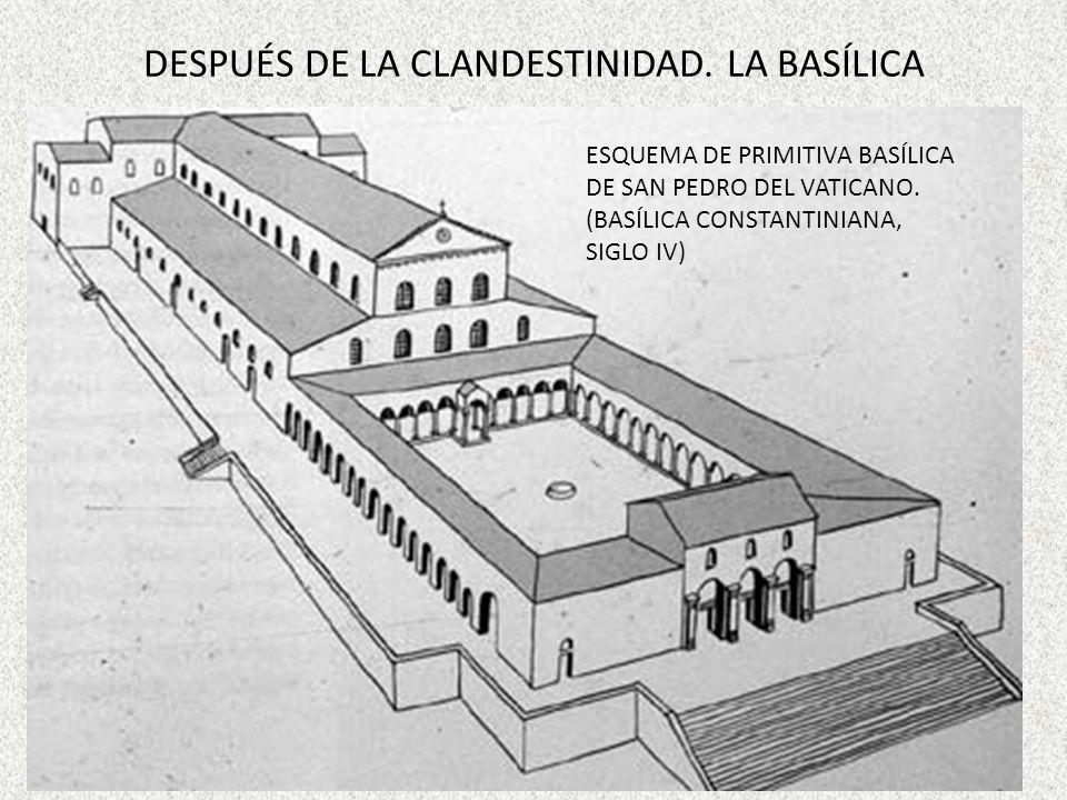 DESPUÉS DE LA CLANDESTINIDAD. LA BASÍLICA ESQUEMA DE PRIMITIVA BASÍLICA DE SAN PEDRO DEL VATICANO. (BASÍLICA CONSTANTINIANA, SIGLO IV)
