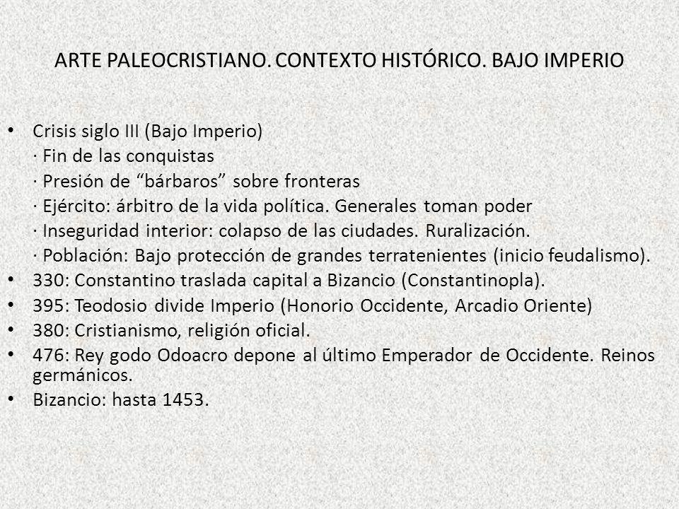 ARTE PALEOCRISTIANO. CONTEXTO HISTÓRICO. BAJO IMPERIO Crisis siglo III (Bajo Imperio) · Fin de las conquistas · Presión de bárbaros sobre fronteras ·