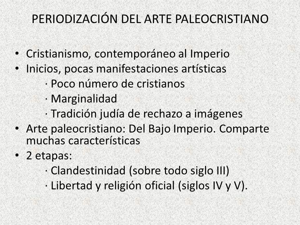 PERIODIZACIÓN DEL ARTE PALEOCRISTIANO Cristianismo, contemporáneo al Imperio Inicios, pocas manifestaciones artísticas · Poco número de cristianos · M