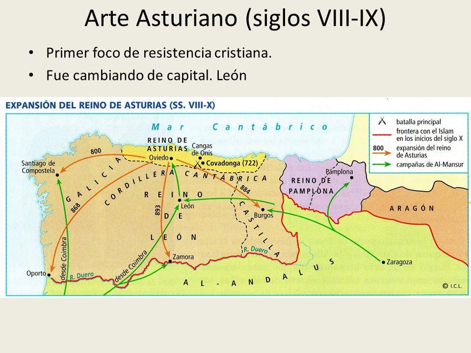 Arte Asturiano (siglos VIII-IX) Primer foco de resistencia cristiana. Fue cambiando de capital. León