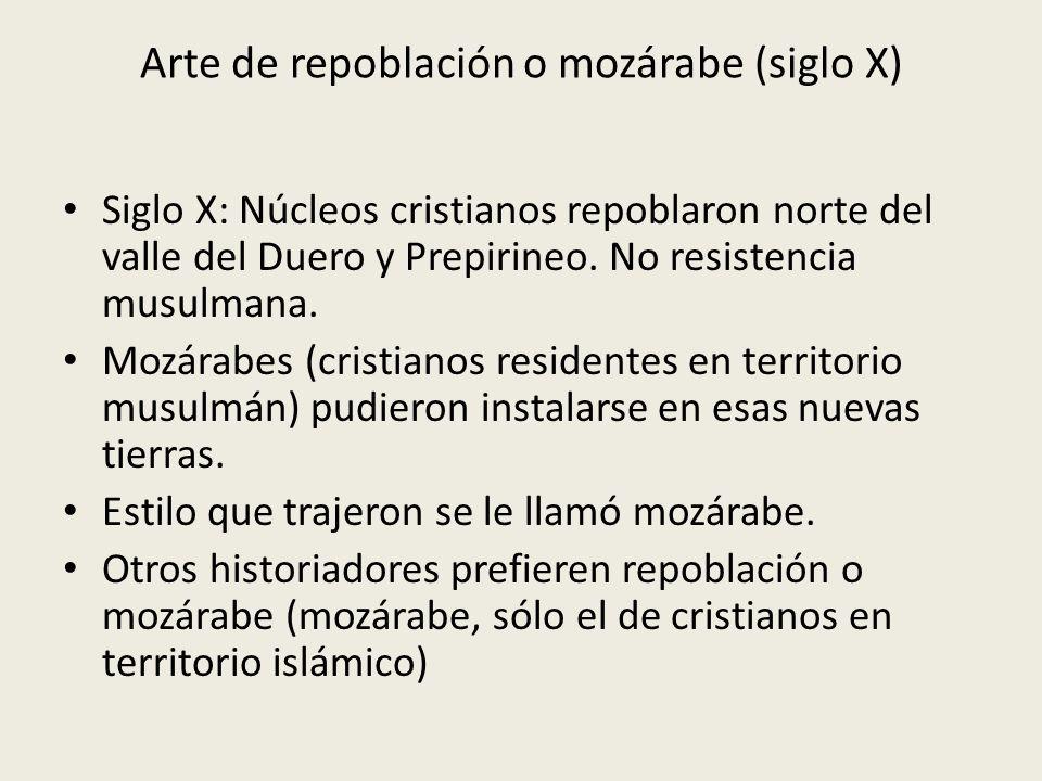Arte de repoblación o mozárabe (siglo X) Siglo X: Núcleos cristianos repoblaron norte del valle del Duero y Prepirineo. No resistencia musulmana. Mozá