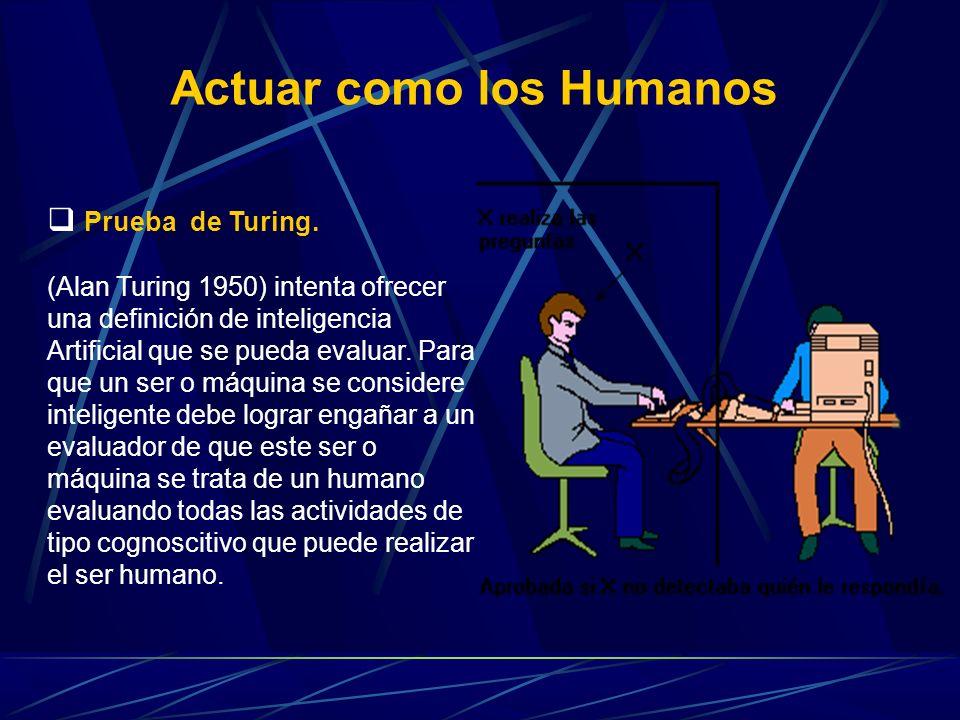 Prueba de Turing. (Alan Turing 1950) intenta ofrecer una definición de inteligencia Artificial que se pueda evaluar. Para que un ser o máquina se cons