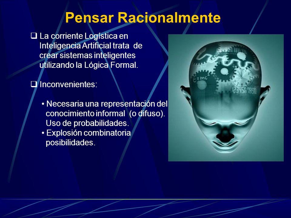 Pensar Racionalmente La corriente Logística en Inteligencia Artificial trata de crear sistemas inteligentes utilizando la Lógica Formal. Inconveniente