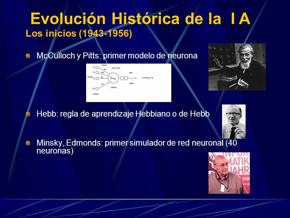 Los inicios (1943-1956) McCulloch y Pitts: primer modelo de neurona Hebb: regla de aprendizaje Hebbiano o de Hebb Minsky, Edmonds: primer simulador de