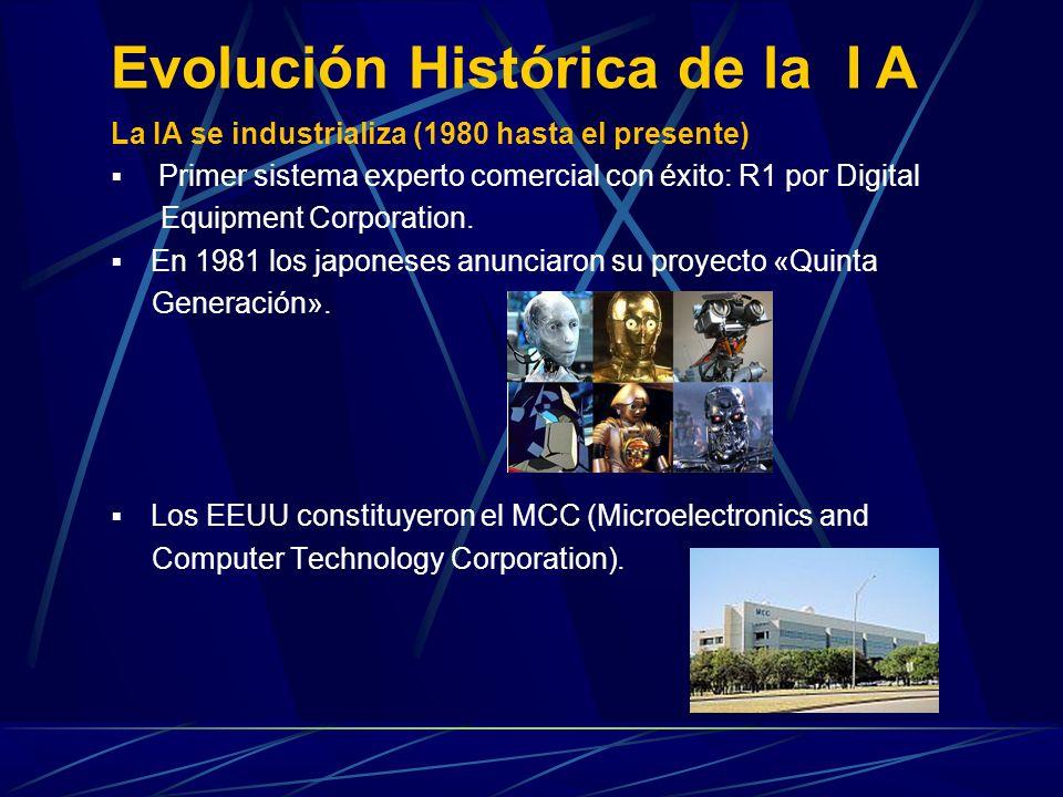 La IA se industrializa (1980 hasta el presente) Primer sistema experto comercial con éxito: R1 por Digital Equipment Corporation. En 1981 los japonese
