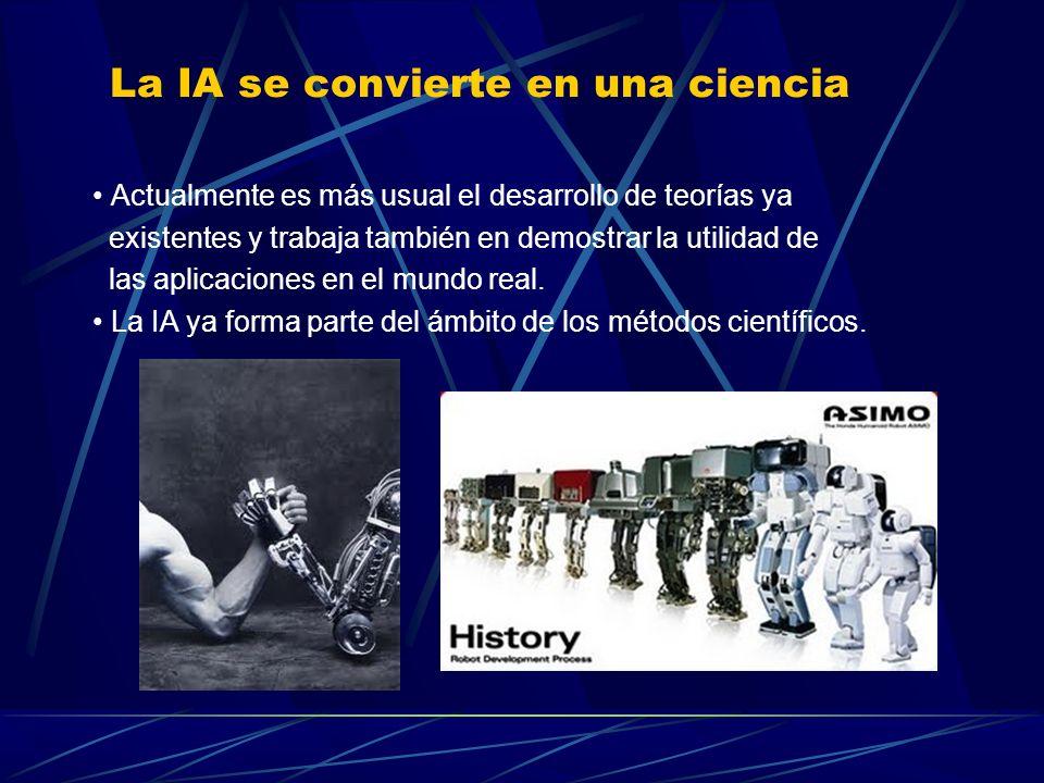 La IA se convierte en una ciencia En 1986 se produce un regreso de las redes neuronales, y este enfoque denominado conexionista convivirá con otros diferentes.