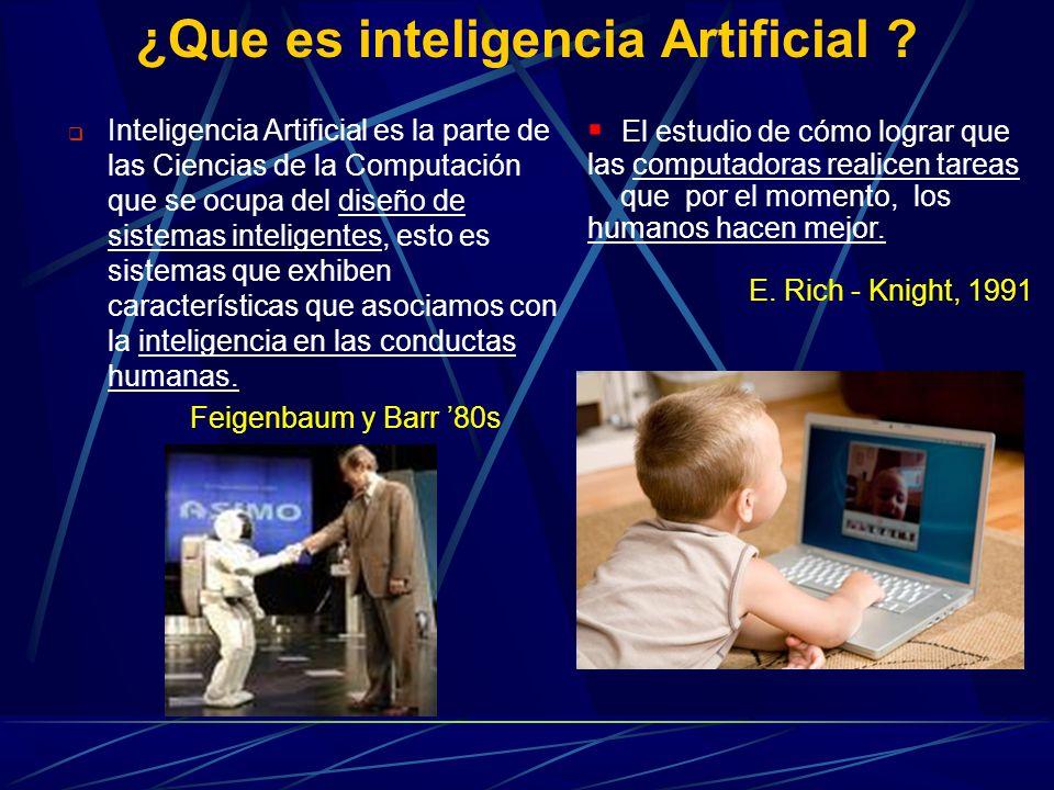 ¿Que es inteligencia Artificial ? Inteligencia Artificial es la parte de las Ciencias de la Computación que se ocupa del diseño de sistemas inteligent