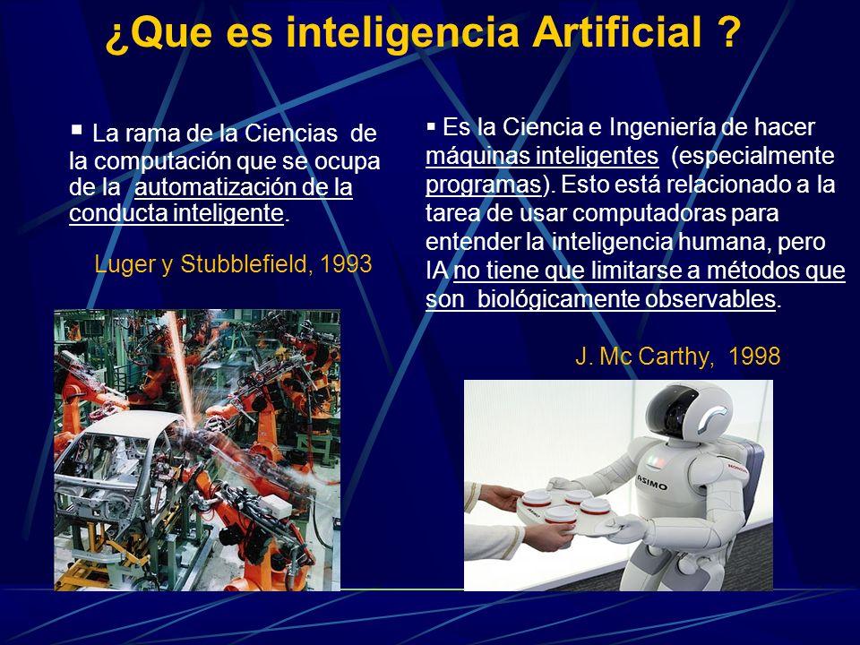 La rama de la Ciencias de la computación que se ocupa de la automatización de la conducta inteligente. Luger y Stubblefield, 1993 ¿Que es inteligencia