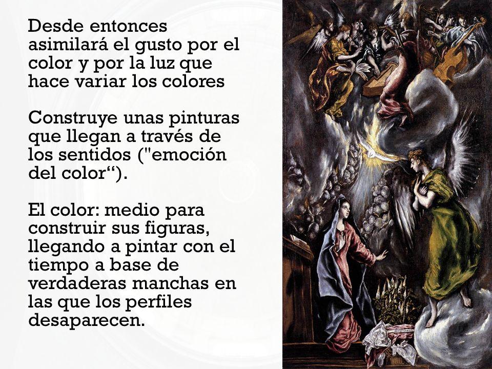 Desde entonces asimilará el gusto por el color y por la luz que hace variar los colores Construye unas pinturas que llegan a través de los sentidos (