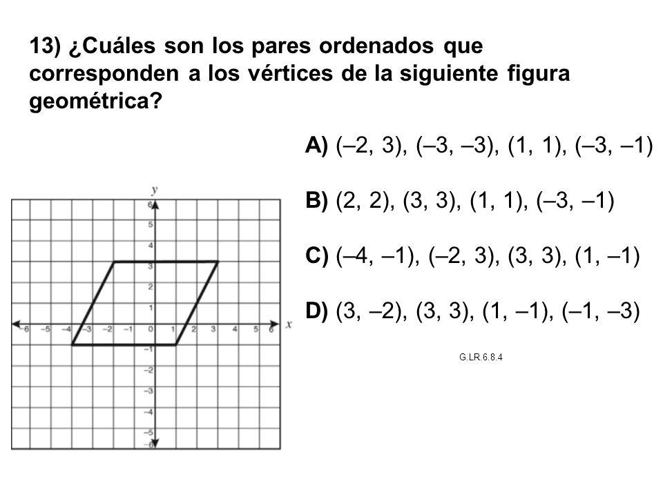 13) ¿Cuáles son los pares ordenados que corresponden a los vértices de la siguiente figura geométrica? A) (–2, 3), (–3, –3), (1, 1), (–3, –1) B) (2, 2