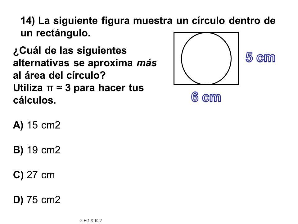 14) La siguiente figura muestra un círculo dentro de un rectángulo. ¿Cuál de las siguientes alternativas se aproxima más al área del círculo? Utiliza